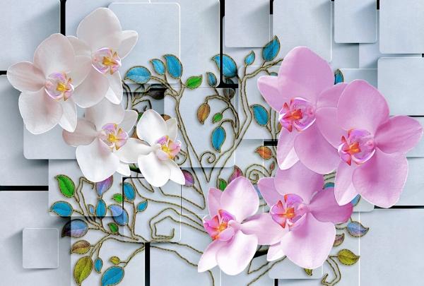Фотообои/L КоллекцияОрхидеи и витражные веточки 400х270 см