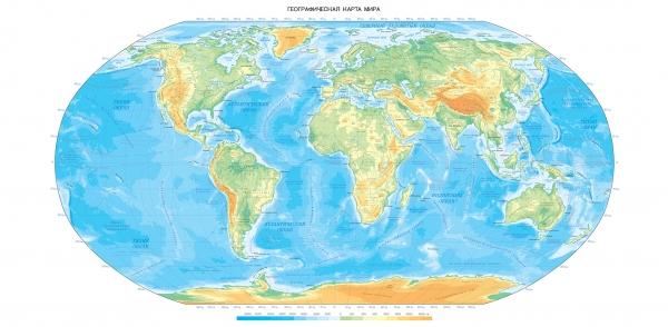 Фотообои/L КоллекцияГеографическая карта мира 300х147 см