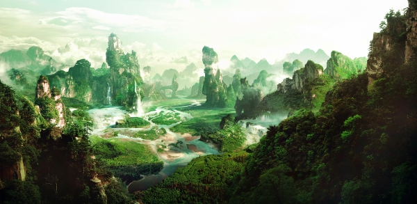 Фотообои/L КоллекцияПанорама с водопадом 300х147 см