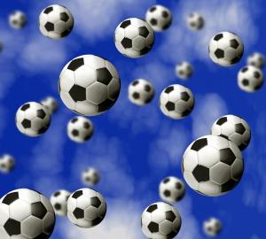 Фотообои/P коллекцияФутбольные мячи 300х270 см
