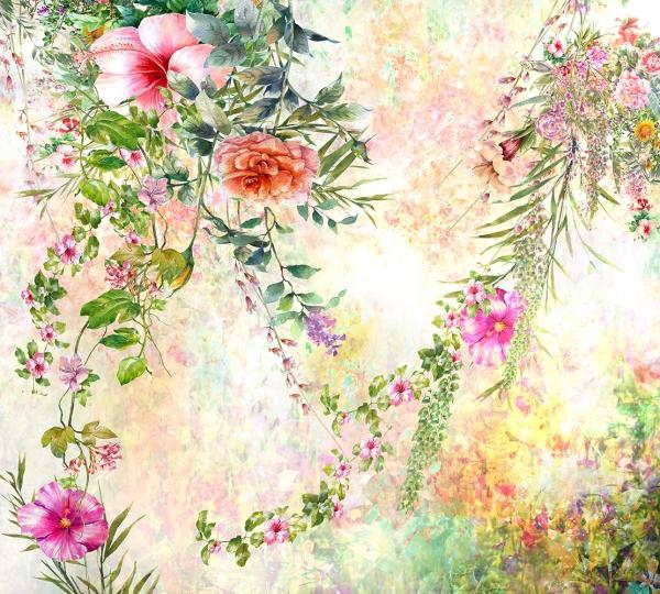 Фотообои/P коллекцияКрасочные цветы акварель  300х270