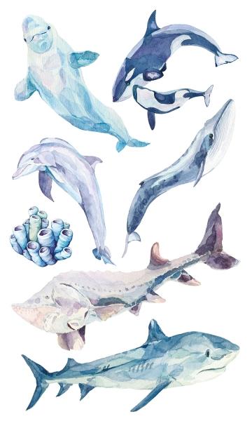 НАКЛЕЙКИ ДЕКОРАТИВНЫЕ ВИНИЛОВЫЕ Divino Sticky/30*50Обитатели океана 30х50 см