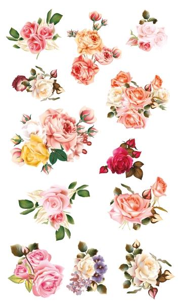 Разноцветные розы 30х50 см