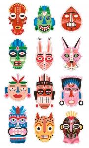 НАКЛЕЙКИ ДЕКОРАТИВНЫЕ ВИНИЛОВЫЕ Divino Sticky/30*50Африканские маски 30х50 см