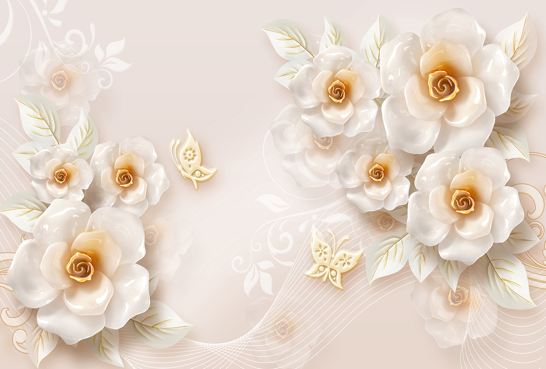 Купить Цветы с бабочками 400х270 (Эко ) в Москве | Divino D