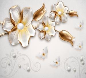 Фотообои/T коллекцияБелые бабочки с цветами  300х270