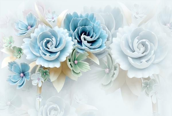 Фотообои/T коллекцияБольшие голубые цветы    400х270