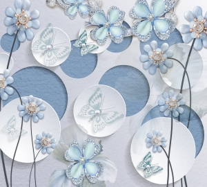 Фотообои/T коллекцияГолубые цветы на кругах   300х270