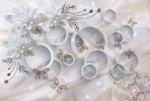 Фотообои/T коллекцияКерамические цветы на кругах   400х270
