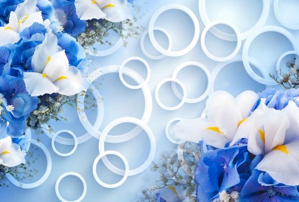 Фотообои/T коллекцияКольца с синими цветами 400х270