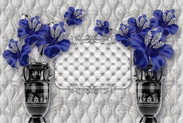 Фотообои/T коллекцияСиние цветы в вазах 400х270