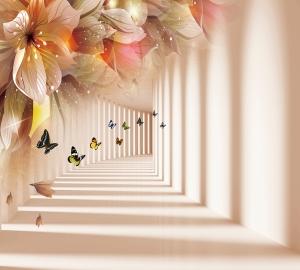 Фотообои/T коллекцияТуннель с бабочками 300х270