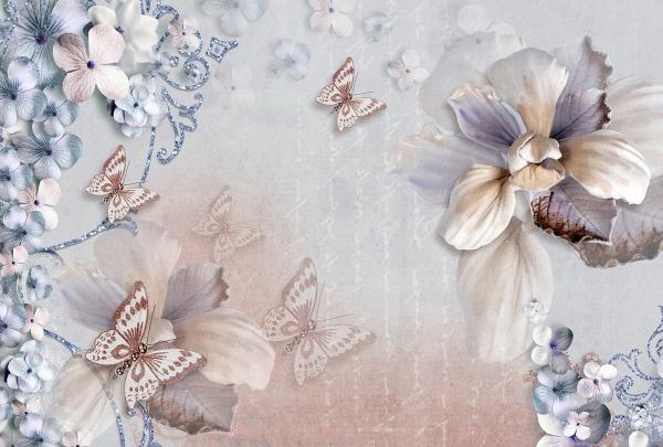 Фотообои/T коллекцияБабочки на цветах 400х270