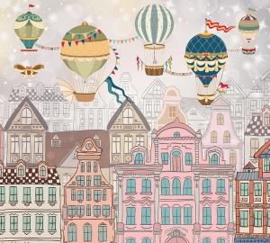 Фотообои/T коллекцияДомики с воздушными шарами 300х270