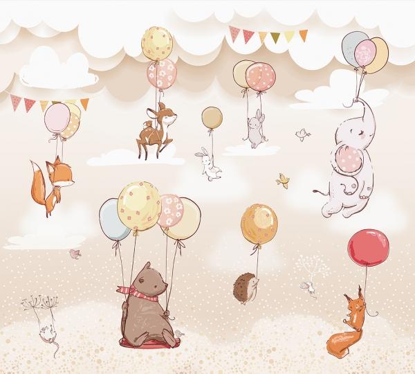 Фотообои/T коллекцияЖивотные с воздушными шарами 300х270