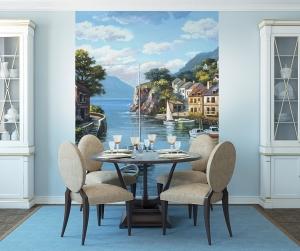 Городок у моря живопись  200х270 см