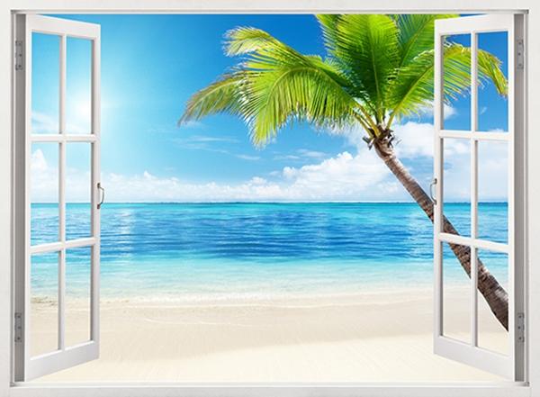 Фотообои/B коллекцияОкно на пляж 200х147 см