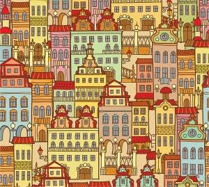 Цветной город фон 300х270 см