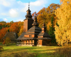 Церковь в осеннем лесу 300х238 см