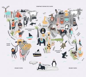 Карта мира с животными  300х270